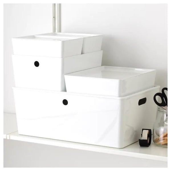 KUGGIS Box with lid, 26x35cm, White