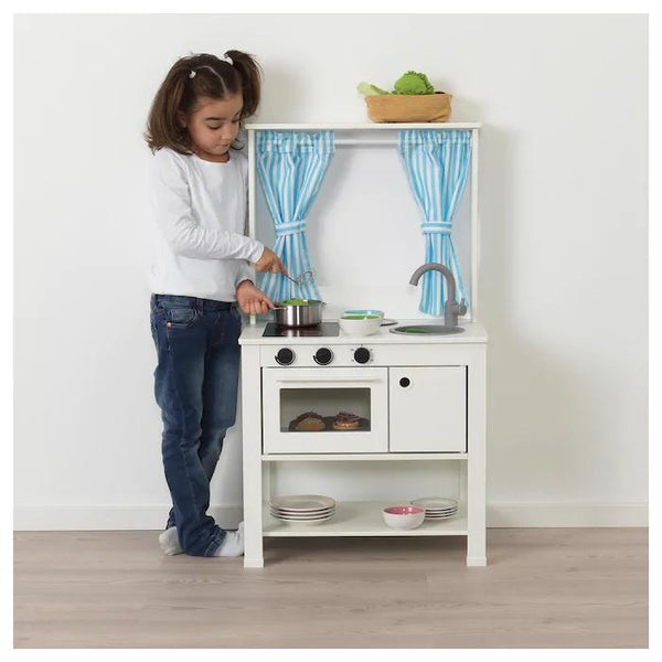 SPISIG Play kitchen with curtains, 55x37x98cm,