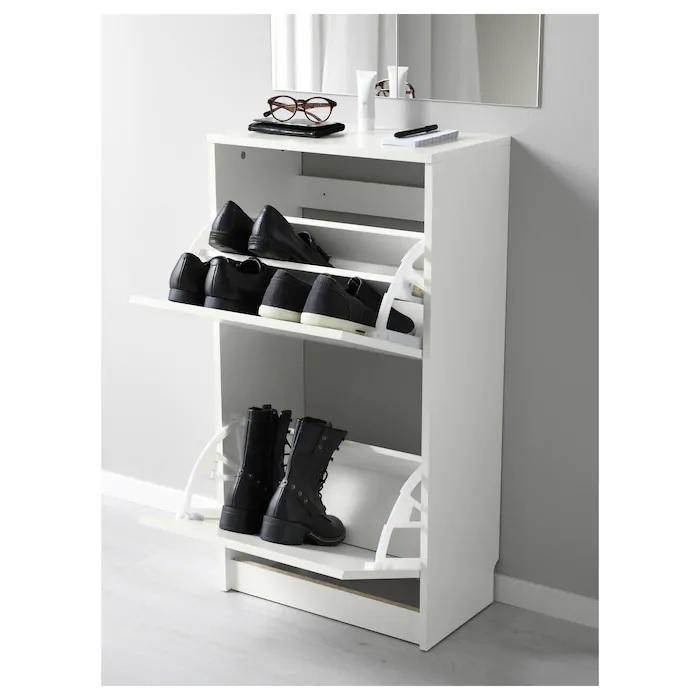 BISSA Shoe cabinet with 2 compartments, 49x93cm, White