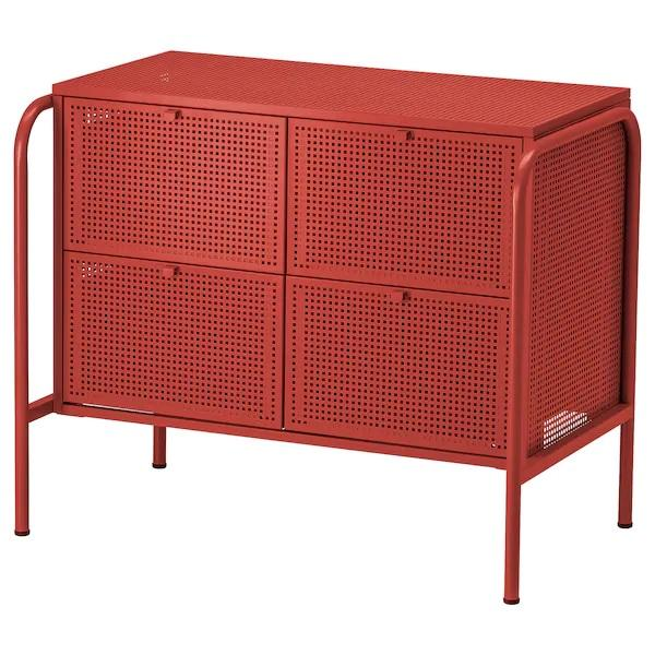 NIKKEBY Chest of 4 drawers, 84x70cm, Red