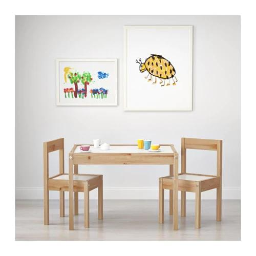 LATT children's table and chairs, White/pine