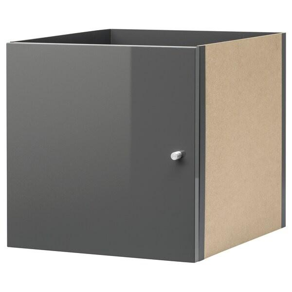 KALLAX insert with door, High gloss grey