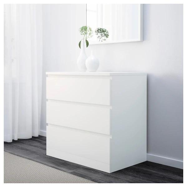 MALM chest of 3 drawers, White
