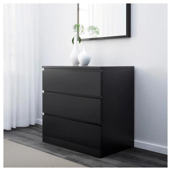 MALM chest of 3 drawers, Black-brown