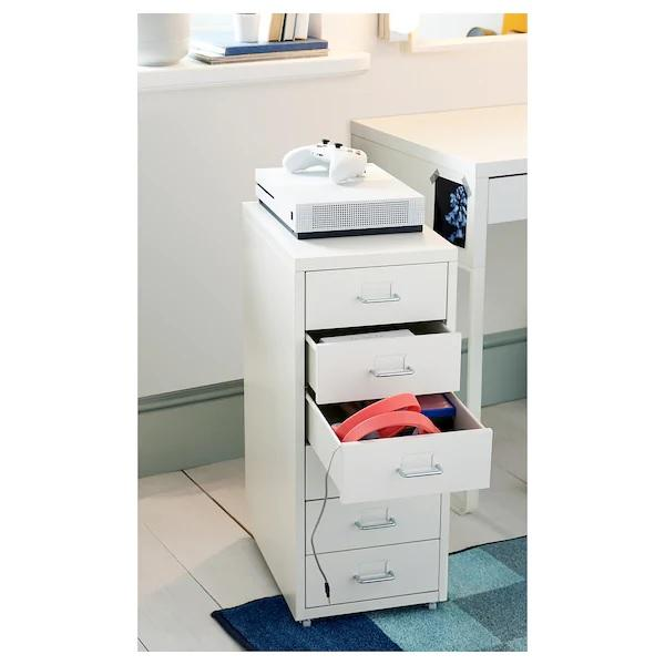 HELMER storage unit with drawers, White