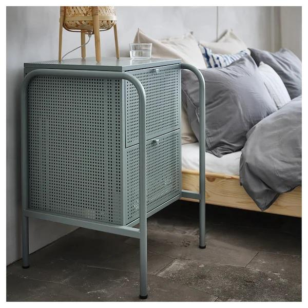 NIKKEBY Chest of 2 drawers, 46x70cm, Grey green