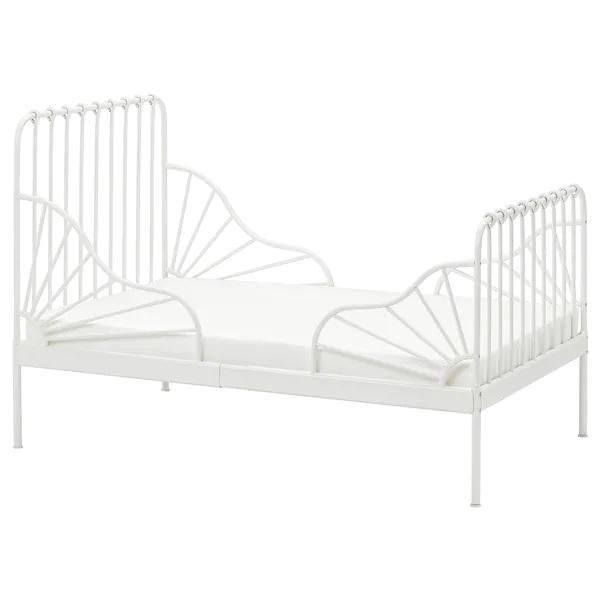 MINNEN Ext bed frame with slatted bed base 80x200cm, White