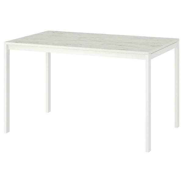MELLTORP Table (125x75cm), White marble/white