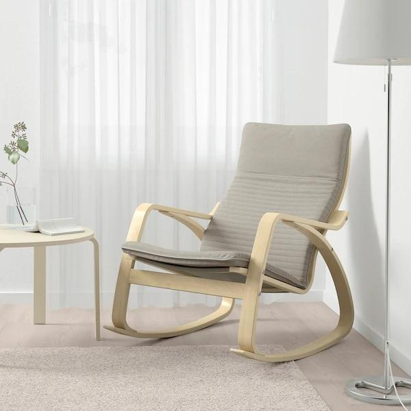 POANG rocking-chair, birch & knisa light beige