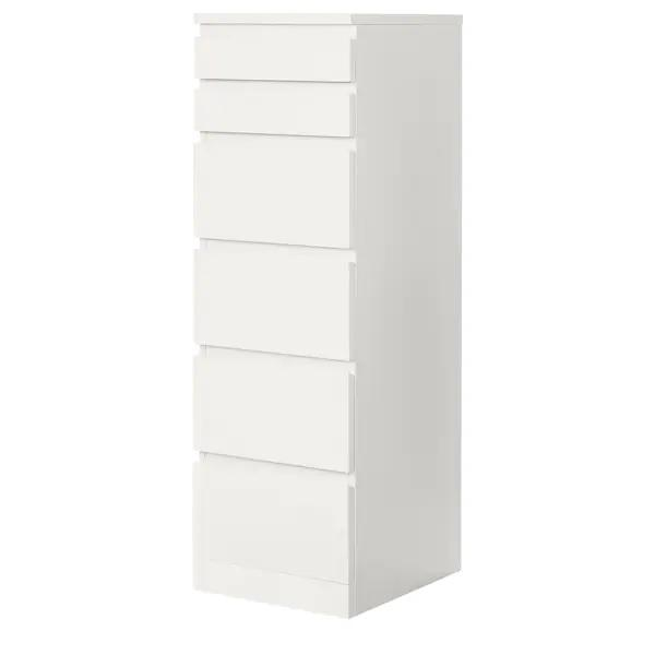 MALM Chest of 6 drawers with mirror, White
