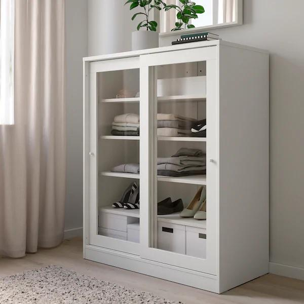 SYVDE Cabinet with glass doors, 100x123cm, White