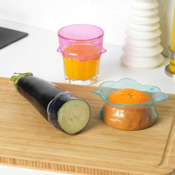 OVERMATT Food cover, set of 3, Multi-coloured
