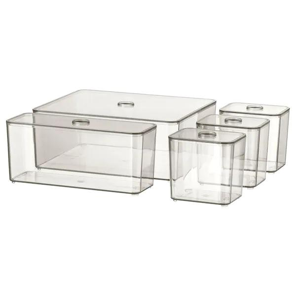GODMORGON Box with lid, set of 5, Smoked