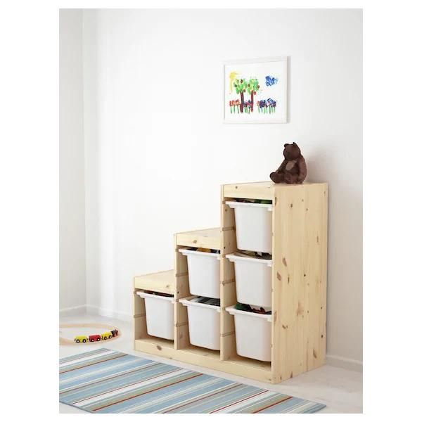 TROFAST Frame, 99x44x94cm 3 step, Light white stained pine
