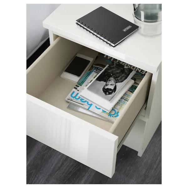 MALM chest of 2 drawers/bedside table, 40x55cm, HIGH GLOSS White