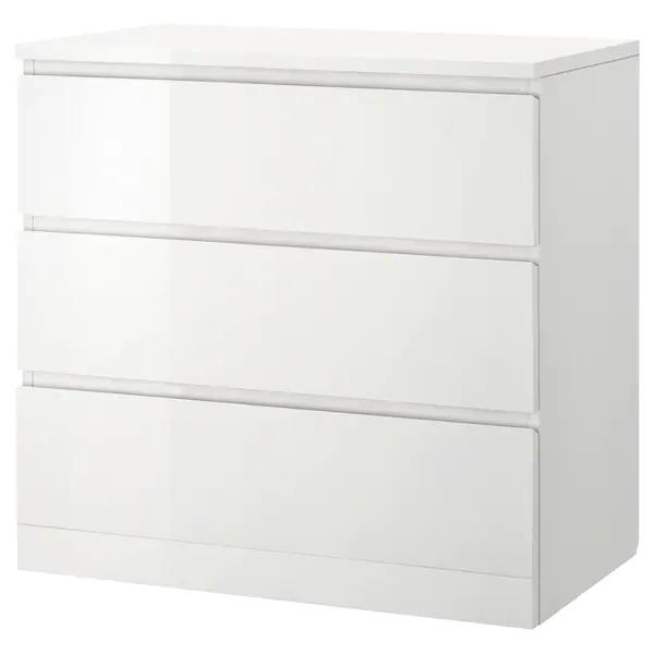 MALM chest of 3 drawers/bedside table, 80x78cm, HIGH GLOSS White