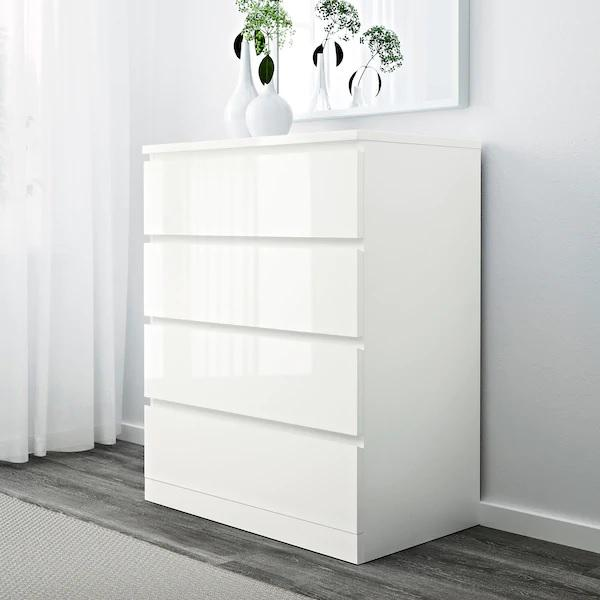 MALM chest of 4 drawers/bedside table, 80x100cm, HIGH GLOSS White