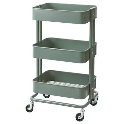 RASKOG Trolley, 35x45x78cm, Grey-green