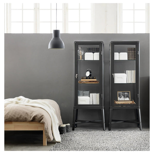 FABRIKOR Glass-door cabinet, 57x150cm, Dark Grey