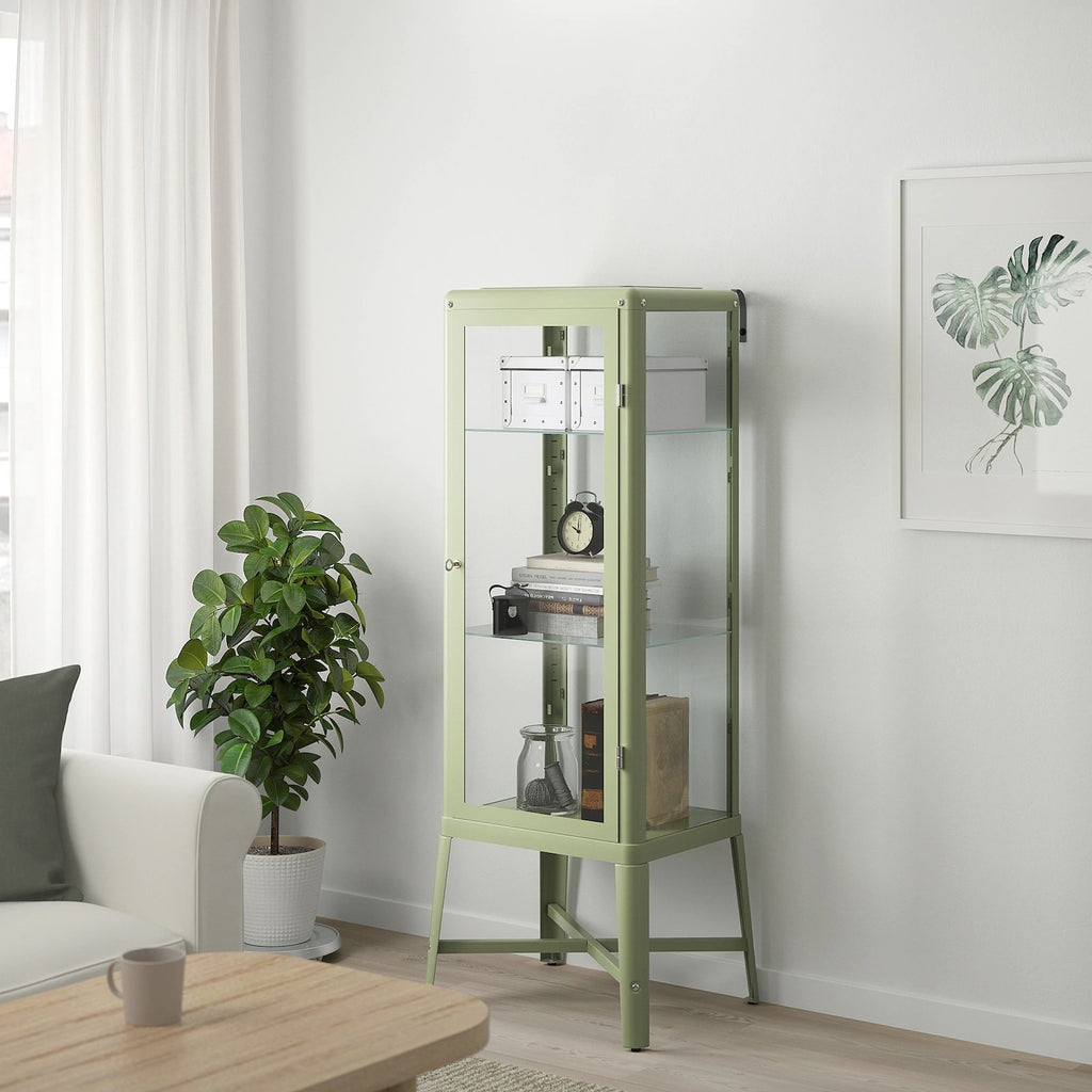 FABRIKOR Glass-door cabinet, 57x150cm, Pale grey-green