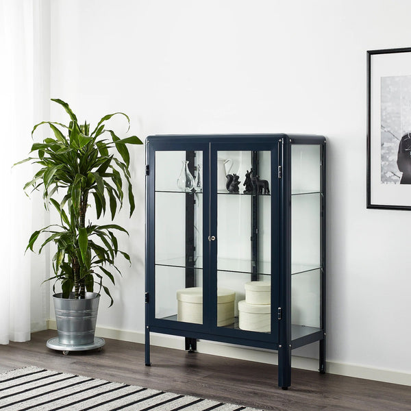 FABRIKOR Glass-door cabinet, 81x113cm, Black-blue