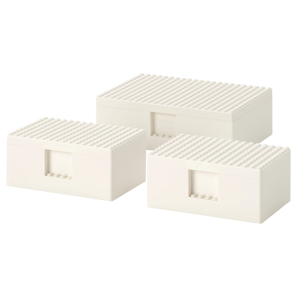 BYGGLEK LEGO box with lid, set of 3, White