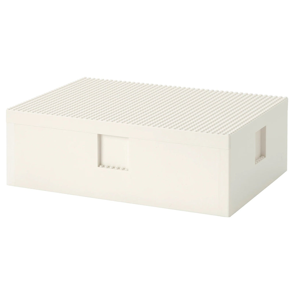 BYGGLEK LEGO box with lid, 35x26x12cm, White