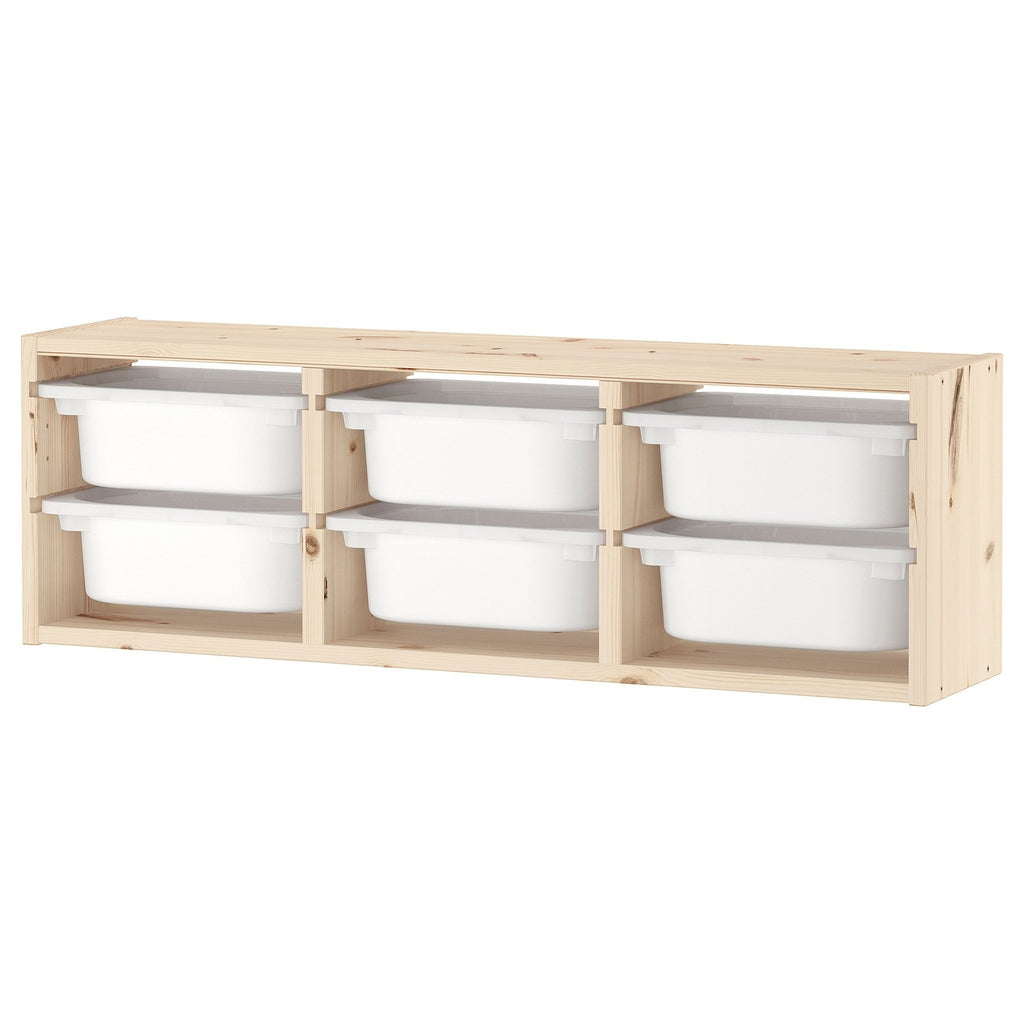 TROFAST Wall storage, 99x21x30cm (6 boxes Combo), Light white stained pine/white