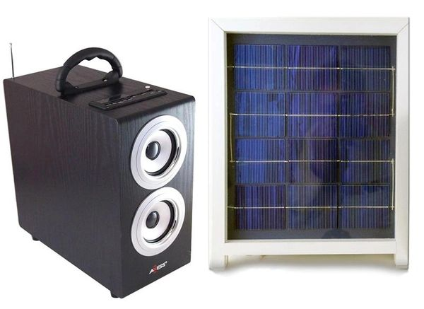 Solar Boombox Radio with Subwoofer & Solar Panel