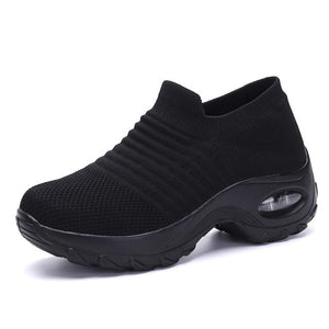 Wow Sports Shop ALL Black / 5.5 Sock Sneakers Flat Shoes For Women