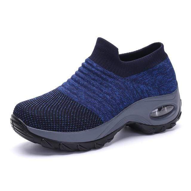 Wow Sports Shop Blue / 5.5 Sock Sneakers Flat Shoes For Women