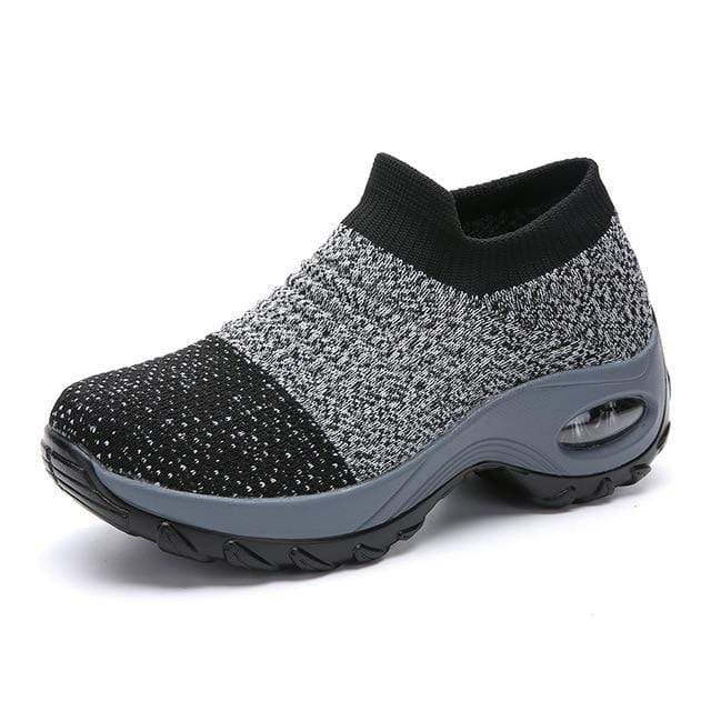 Wow Sports Shop Grey / 8 Sock Sneakers Flat Shoes For Women