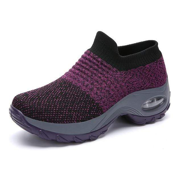 Wow Sports Shop Lilac colour / 5.5 Sock Sneakers Flat Shoes For Women