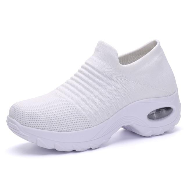 Wow Sports Shop White / 5.5 Sock Sneakers Flat Shoes For Women