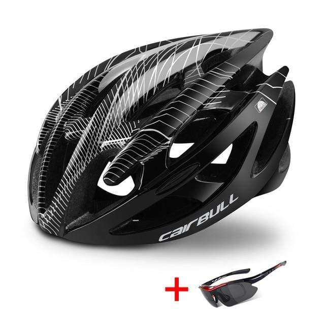 Wow Sportz Black / M(52-58) Ultralight Mountain Bike Road Bike Helmet with Sunglasses Men Women Riding Cycling Safety Helmet In-mold DH MTB Bicycle Helmet