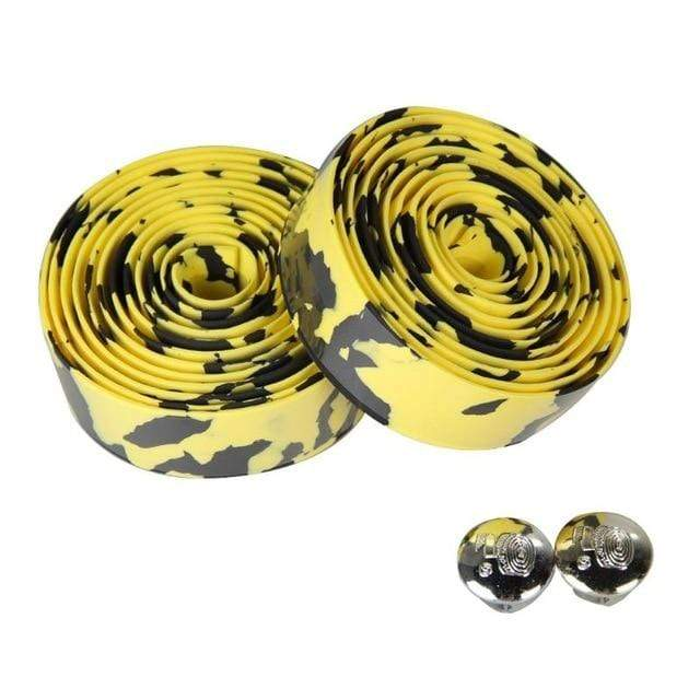 Wow Sportz black yellow 2pcs Multi-functional Bicycle Handlebar Tape Steering Wheel Cover Road Bike Cycling Handle Non-slip Belt Rubber Tape