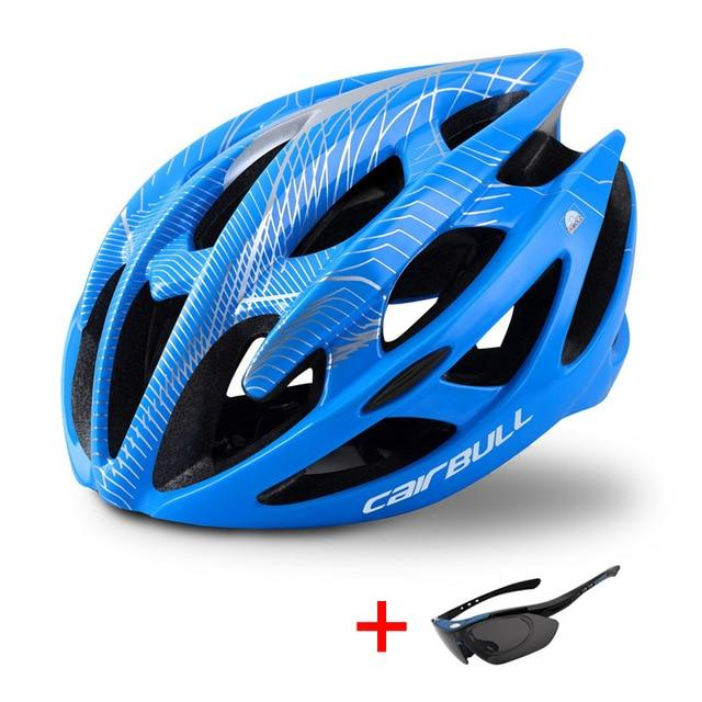 Wow Sportz Blue / M(52-58) Ultralight Mountain Bike Road Bike Helmet with Sunglasses Men Women Riding Cycling Safety Helmet In-mold DH MTB Bicycle Helmet