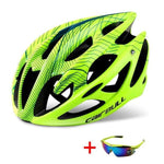 Wow Sportz Green / L(58-62) Ultralight Mountain Bike Road Bike Helmet with Sunglasses Men Women Riding Cycling Safety Helmet In-mold DH MTB Bicycle Helmet
