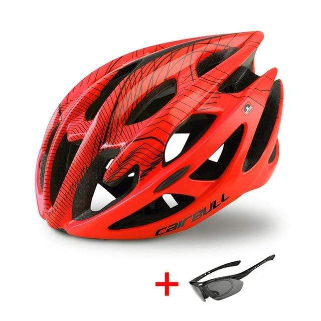 Wow Sportz Orange Red / M(52-58) Ultralight Mountain Bike Road Bike Helmet with Sunglasses Men Women Riding Cycling Safety Helmet In-mold DH MTB Bicycle Helmet