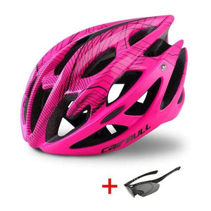 Wow Sportz Pink / M(52-58) Ultralight Mountain Bike Road Bike Helmet with Sunglasses Men Women Riding Cycling Safety Helmet In-mold DH MTB Bicycle Helmet
