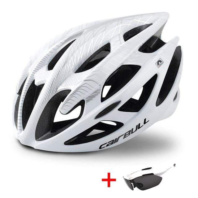 Wow Sportz White / M(52-58) Ultralight Mountain Bike Road Bike Helmet with Sunglasses Men Women Riding Cycling Safety Helmet In-mold DH MTB Bicycle Helmet