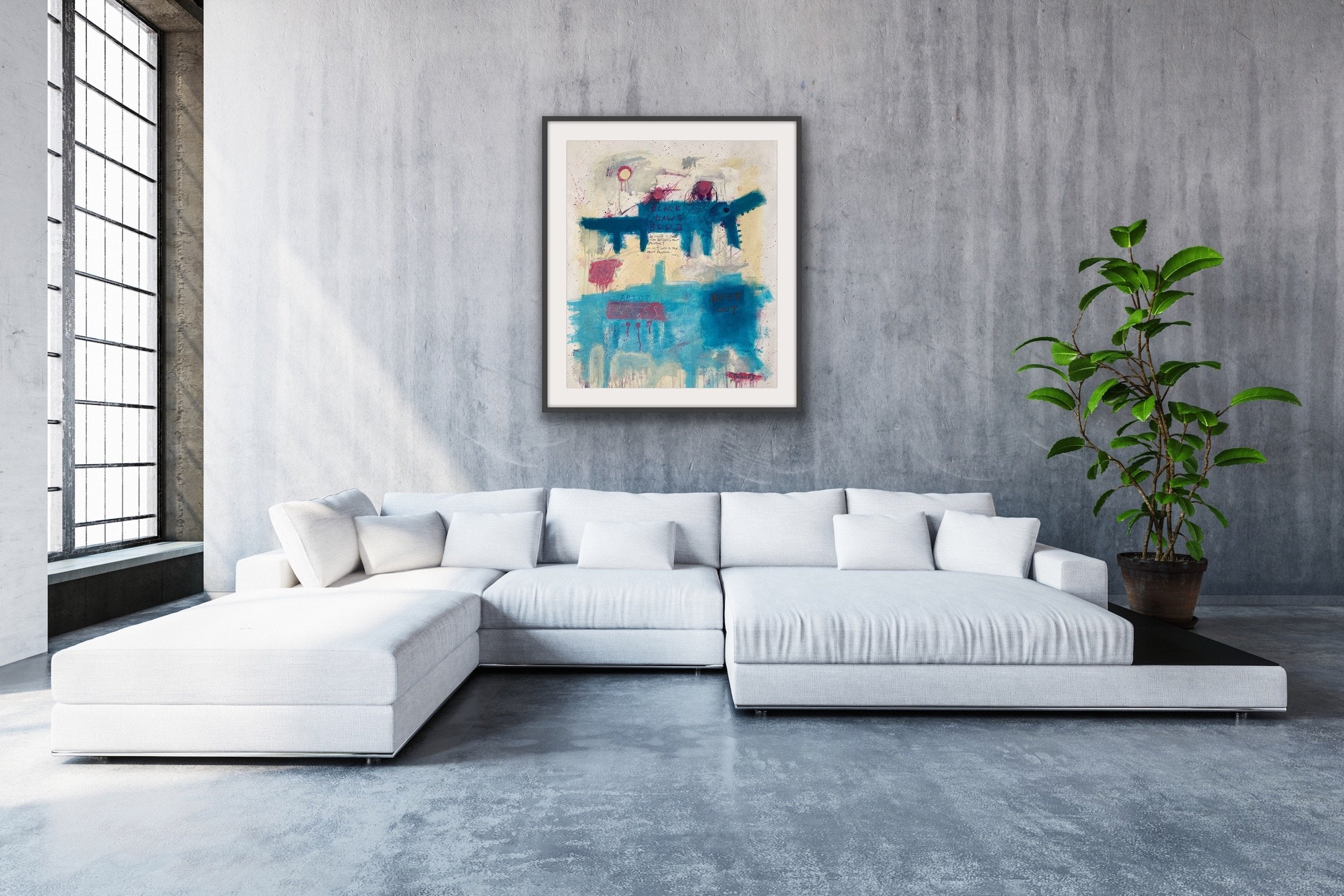 'Black Dawg Blue', an abstract artwork by contemporary artist Steven James Tunney, shown in situ