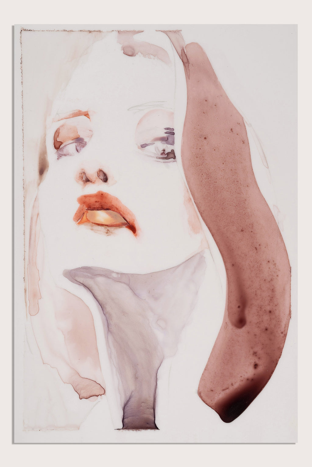 'Surface IV', a figurative painting on translucent paper by woman artist Alex Roberts