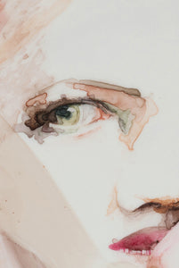 Detail of 'Surface VII', a figurative painting on translucent paper by woman artist Alex Roberts