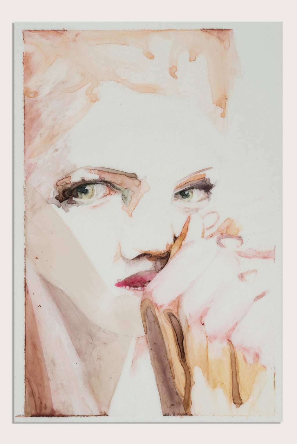 'Surface VII', a figurative painting on translucent paper by woman artist Alex Roberts