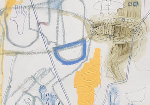 Detail of 'Deep Mapping II: Slag Heap', a new landscape painting and drawing by woman artist Faye Dobinson