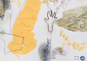 Detail of 'Deep Mapping IV: Loose Rock', a new landscape painting and drawing by woman artist Faye Dobinson