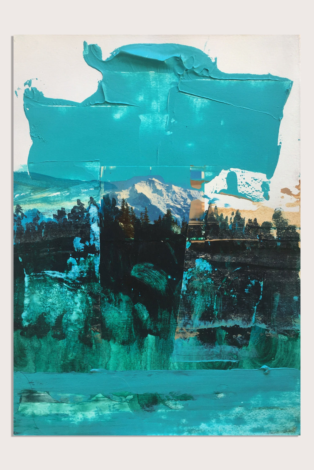 'Fake Views V: Forever Mountains' - a painting and collage by woman artists Faye Dobinson