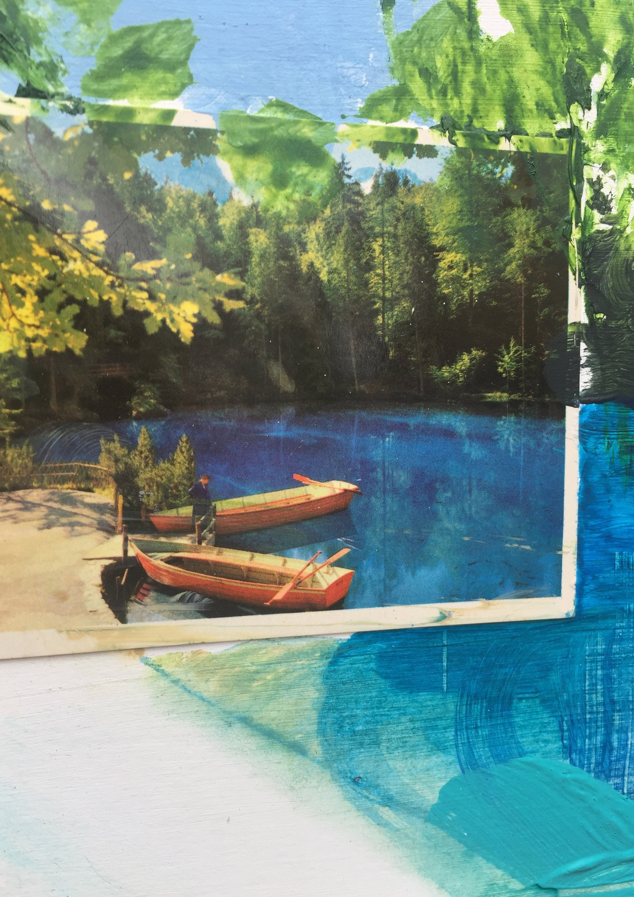 Detail of 'Fake Views VII: Blausee', a new landscape painting and collage by contemporary artist Faye Dobinson