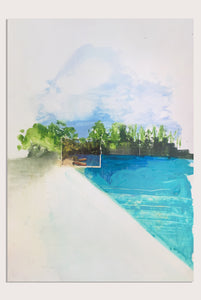 'Fake Views VII: Blausee' a new landscape painting and collage by contemporary artist Faye Dobinson